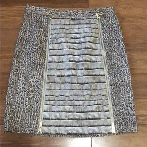 Michael Kors Brown and Cream Snakeskin Print Skirt